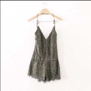 Rubber Ducky Productions Green Lace Romper